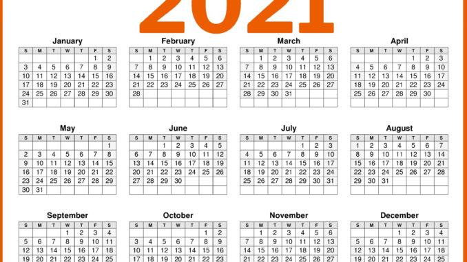 2021 Calendar Printable One Page Free