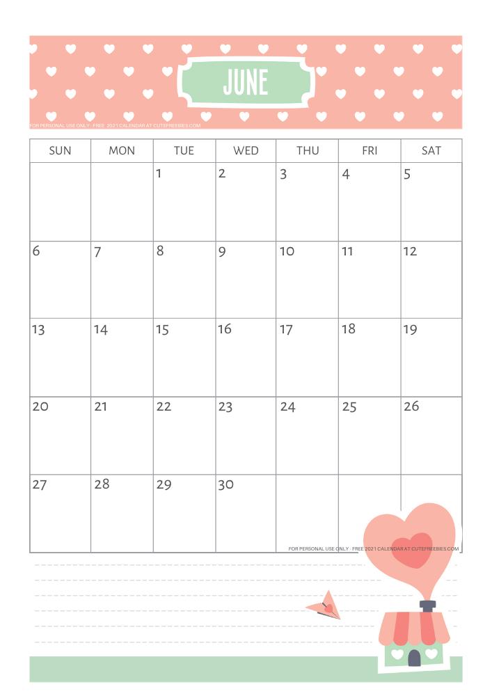 June 2021 Wall Calendar